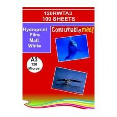120HWTA3 Non-Adhesive Hydroprint Films Matt White